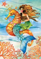 """12"""" x 18"""" Mini Multicolor Mermaid Riding a Seahorse Garden Flag"""