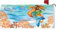 "7"" x 17"" Seas the Day Mermaid Riding a Seahorse Mailbox Cover"