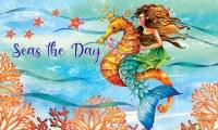 "18"" x 30"" Mermaid on a Seahorse Doormat"