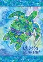 "12"" x 18"" Mini Blue and Green Boho Turtle Garden Flag"