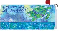 """7"""" x 17"""" Blue and Green Boho Turtle Mailbox Cover"""