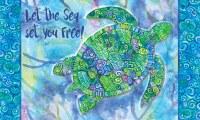 """18"""" x 30"""" Blue Green Turtle Doormat"""