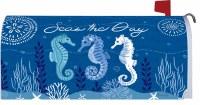 "7"" x 17"" Dark Blue Seahorse Trio Mailbox Cover"