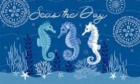 """18"""" x 30"""" Dark Blue Seahorse Trio Doormat"""