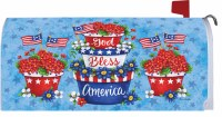 "7"" x 17"" Red, White & Blue God Bless America Planters Mailbox Cover"
