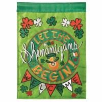 """42"""" x 29"""" Shenanigans Leprechaun Welcome Garden Flag"""