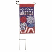 "9"" x 4"" God Bless America Fireworks Garden Flag With Pole"