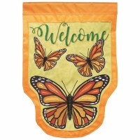 """18"""" x 13"""" Mini Shaped Butterfly Welcome Garden Flag"""