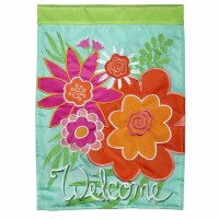 """18"""" x 13"""" Mini Pink and Orange Flowers Welcome Garden Flag"""