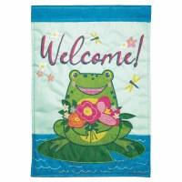 "18"" x 13"" Mini Welcome Frog Garden Flag"