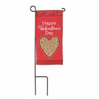 "9"" x 4"" Happy Valentine's Day Garden Flag With Pole"
