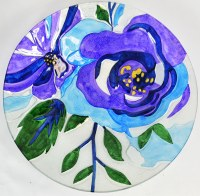 """18"""" Round Blue Floral Glass Bowl"""