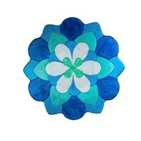"18"" Round Blue, Turquoise, and White Flower Shaped Glass Bowl"