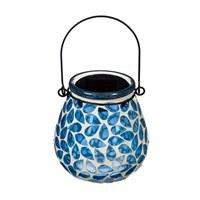 "4"" Blue Mosaic LED Solar Glass Lantern"
