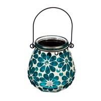 "4"" Teal Flower Mosaic LED Solar Glass Lantern"