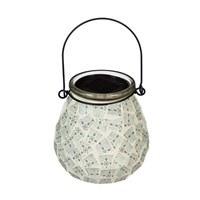 "4"" White Mosaic LED Solar Glass Lantern"