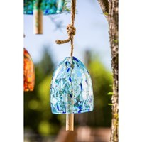 "8"" Light Blue and White Speckled Glass and Wood Wind Chime"