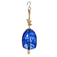 "8"" Dark Blue Speckled Glass and Wood Wind Chime"