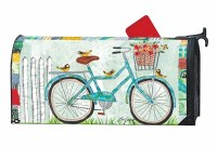 """7"""" x 19"""" Turquoise Bike Enjoy the Ride Mailbox Cover"""