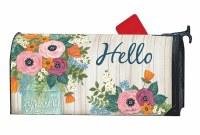 "7"" x 19"" Multi Pastels Hello Flower Jar Mailbox Cover"