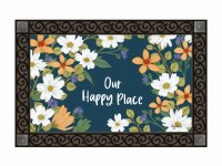 "18"" x 30"" Navy Floral Our Happy Place Doormat"