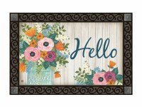 "18"" x 30"" Multi Pastels Hello Flower Jar Doormat"