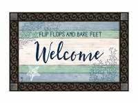 "18"" x 30"" Blue and Green Flip Flops and Bare Feet Welcome Doormat"