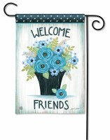 "13"" x 18"" Mini Blue Flower Welcome Friends Garden Flag"
