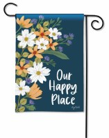"""13"""" x 18"""" Mini Navy Floral Our Happy Place Garden Flag"""