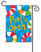 "13"" x 18"" Mini Multicolor Pool's Open Garden Flag"