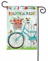 """13"""" x 18"""" Mini Turquoise Bike Enjoy the Ride Garden Flag"""