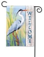 "13"" x 18"" Mini Blue Heron Welcome Garden Flag"