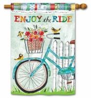 "28"" x 40"" Turquoise Bike Enjoy the Ride Flag"