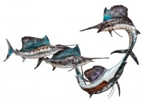 """12"""" x 20"""" Silver and Blue Capiz and Metal Blue Majesty Sailfish School Wall Plaque"""