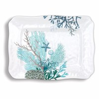 "13"" x 17"" Scalloped Ocean Tide Melamine Serving Platter"