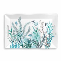 "12"" x 18"" Ocean Tide Melamine Serving Tray With Handles"