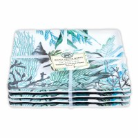 "6"" Square Set of 4 Ocean Tide Melamine Plates"