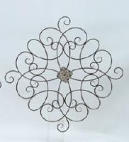 """36"""" Square Center Scroll Metal Wall Plaque"""