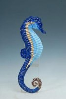"""20"""" Two-Toned Blue and Gold Metal Seahorse Wall Plaque"""