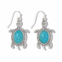 Antique Silver and Turquoise Inlay Turtle Earrings