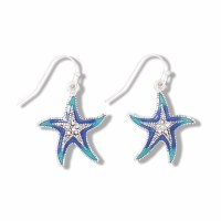 Silver and Blue Green Resin Inlay Starfish Earrings