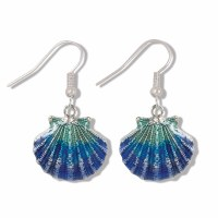 Blue and Green Shimmering Enamel Scallop Shell Silver Earrings