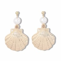 Gold and Pearl Scallop Shell Earrings
