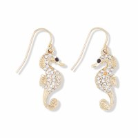 Gold and Crystal Studded Seahorse Earrings