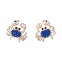 Gold and Blue Crystal Inlay Crab Post Earrings
