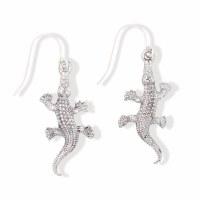 Distressed Silver Alligator Earrings