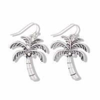 Distressed Silver Palm Tree Earrings