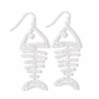 Silver and Crystal Studded Bonefish Earrings