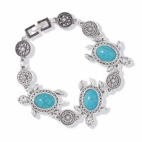 Distressed Silver With Turquoise Inlay Sea Turtle Bracelet