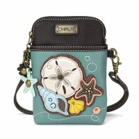 """8"""" Teal and Brown Sand Dollar Cell Crossbody Purse"""